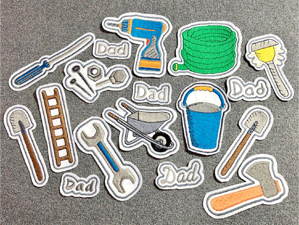 Embroidered tools applique patches