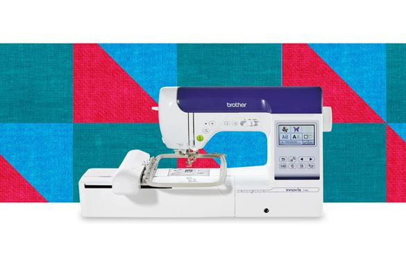 Innov-is-F480 sewing and embroidery machine on a pattern background