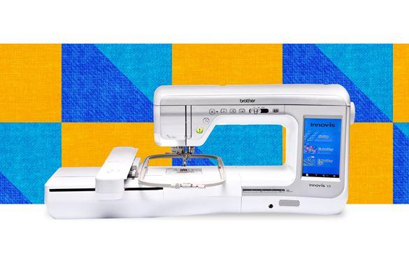 Швейно-вышивальная машина Innov-is-V5 на фоне с узором