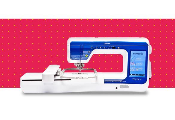 Швейно-вышивальная машина Innov-is-V7 на фоне с красными точками
