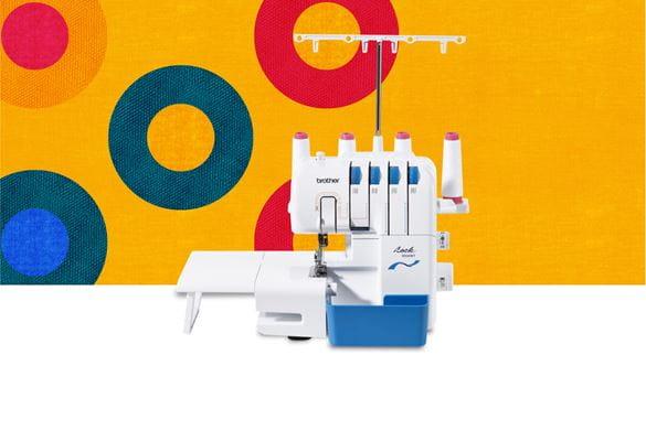 3034DWT overlocker machine on a multicoloured background