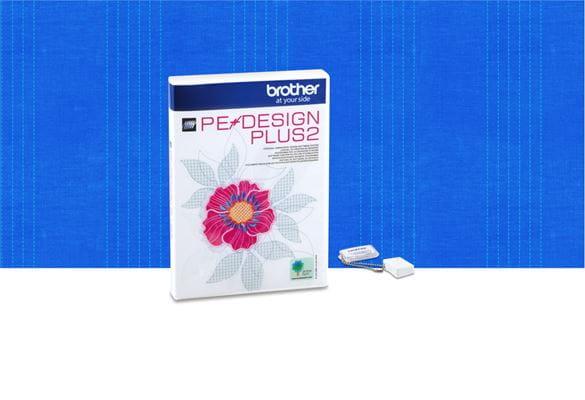 Программа создания дизайнов вышивки PE-Design Plus2 на голубом фоне