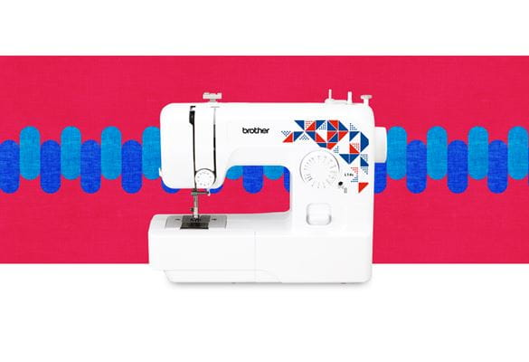 L14s sewing machine on a multicoloured background