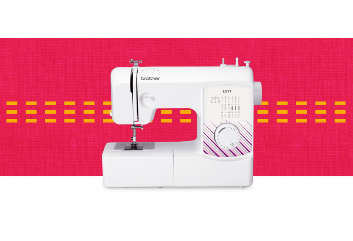 LX17 sewing machine on a red and orange pattern background