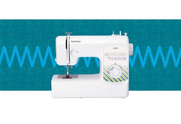 LX25 sewing machine on a blue pattern background