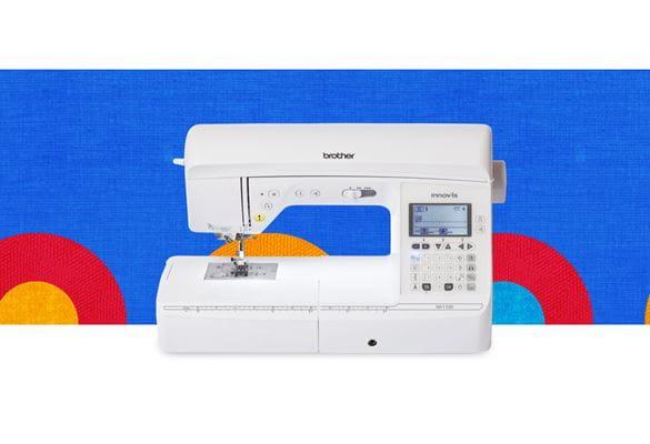 Швейная машина NV1100 на синем фоне с разноцветными кружочками