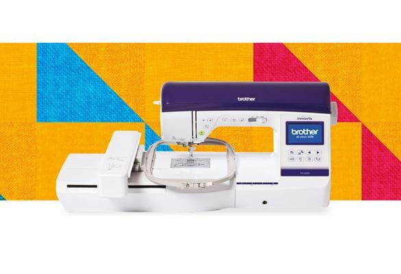 Швейно-вышивальная машина NV2600 на разноцветном фоне с узором