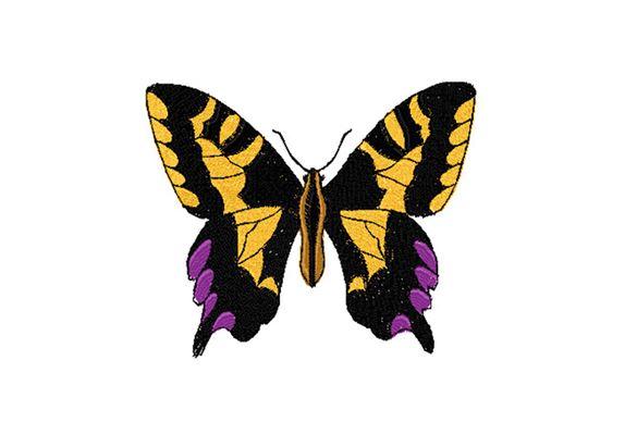 Mutiger lila, gelb und schwarz gestickter Schmetterling