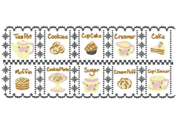 Stickerei-Läuferentwurf mit Teekannen, Keksen und Muffins