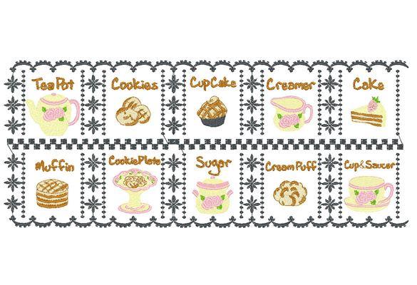 Motif de coureur de broderie avec théières, biscuits et muffins