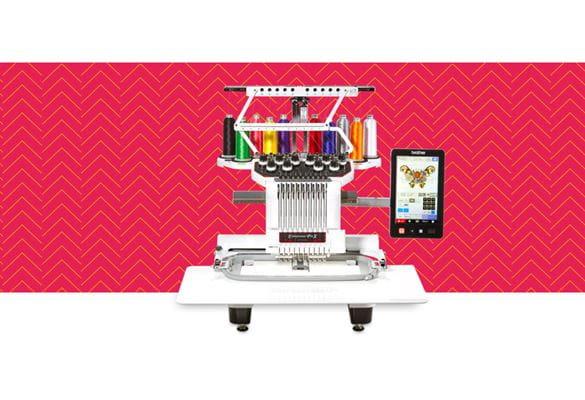 Вышивальная машина PR1050X на красном фоне с узором