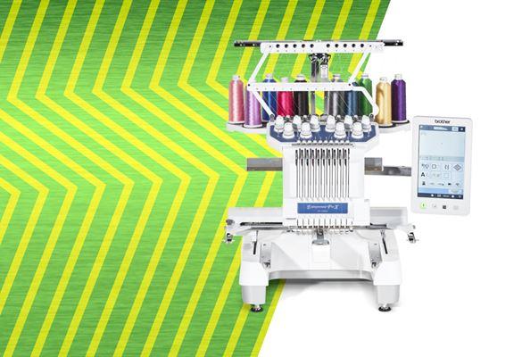 PR1055X borduurmachine op groene zigzagachtergrond