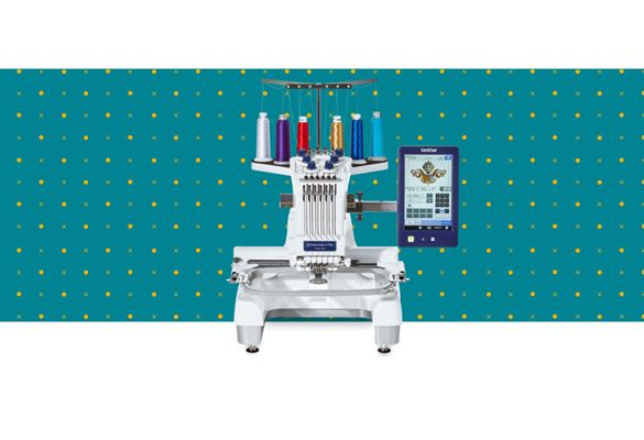 PR670E embroidery machine on a blue pattern background