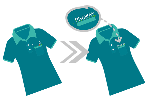 2 t-shirts with crosshair pointer