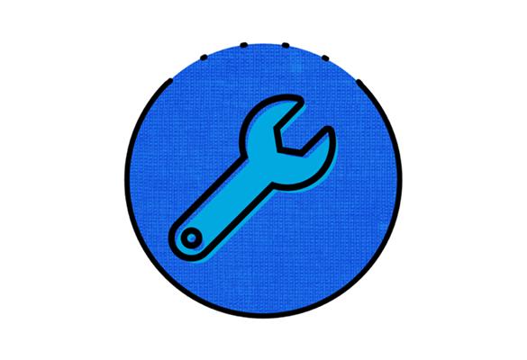 Синий гаечный ключ на синем круге