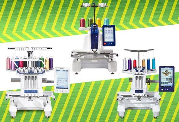 PR1055X PR670E VR embroidery machines on green zigzag background