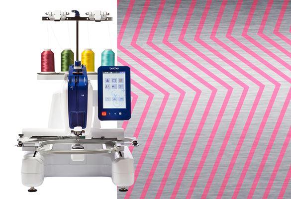 VR-borduurmachine tegen rode zigzag-achtergrond