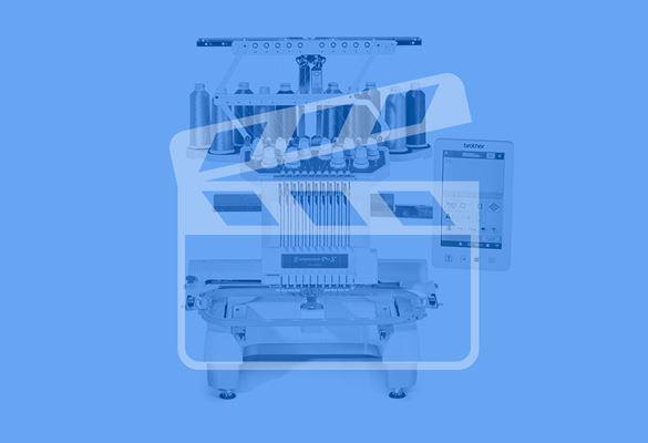 Brother PR-borduurmachine met blauwe filter en videosymbool