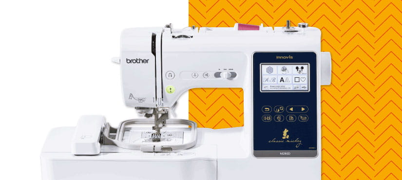 Brother Innov-is M280D combination machine on yellow background