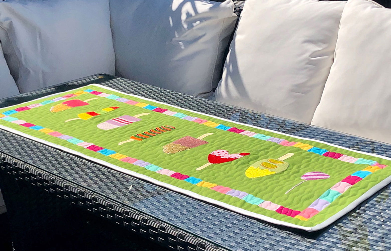 Embroidered ice lollies table runner