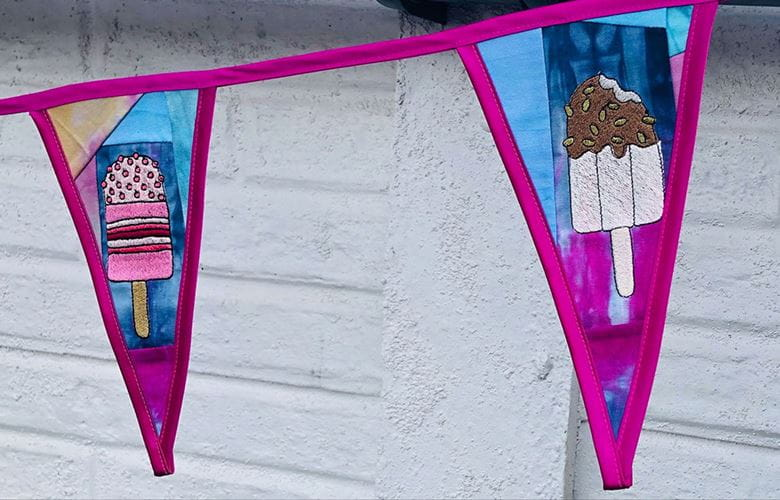 Embroidered ice lolly embroidered bunting