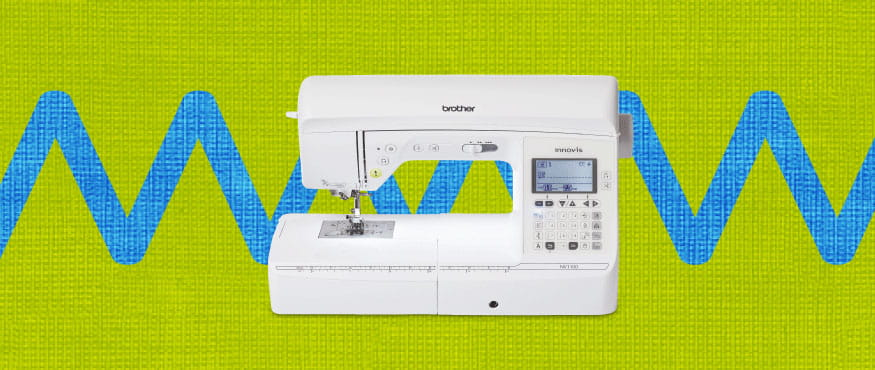 Brother sewing machine on lime green and blue zigzag background