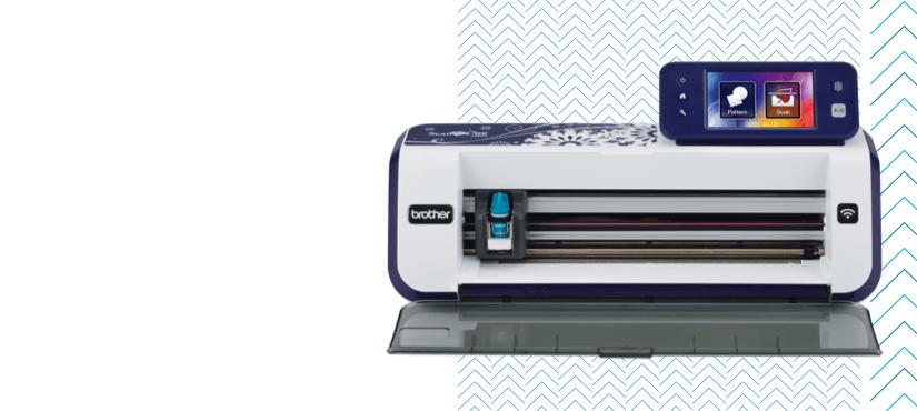 ScanNCut machine on white and blue pattern background