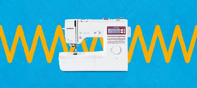 sewing machine on blue and orange zig ziag background