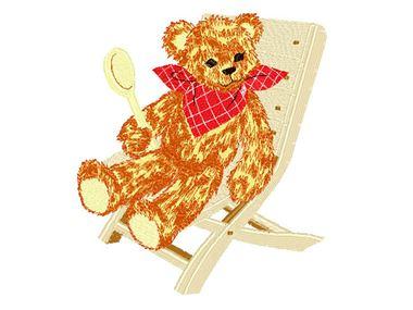 Schattige teddybeer op borduurwerk van stoel