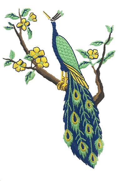Pavone blu e verde che si siede sul modello di ricamo del ramo