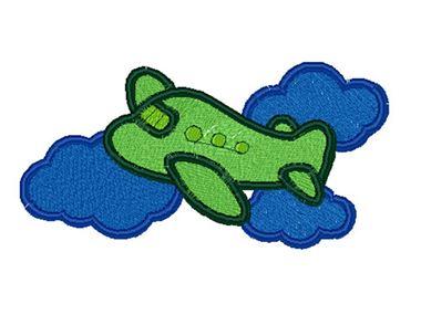 Groen vliegtuig op het blauwe patroon van het wolkenborduurwerk