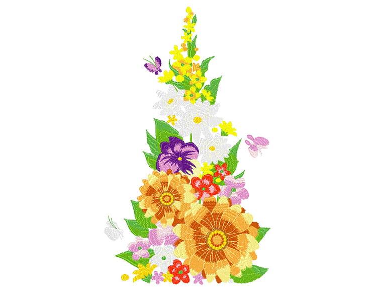Grand motif de broderie de fleurs mélangées