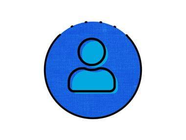blue icon of person