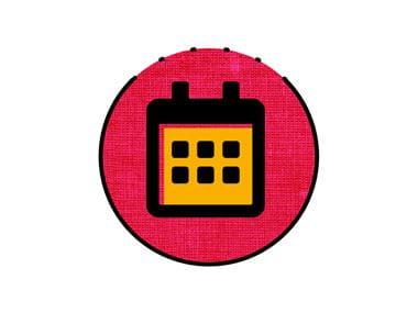 icône calendrier orange et rose