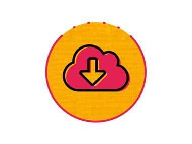 Icona download rosa e arancio