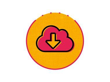 icône téléchargement rose et orange