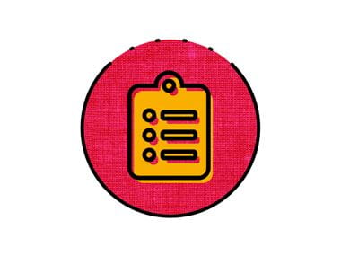 icône presse-papiers rose et orange
