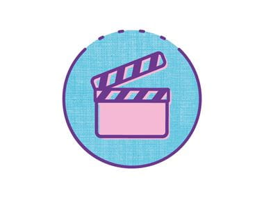 video gallery Icon on blue circle