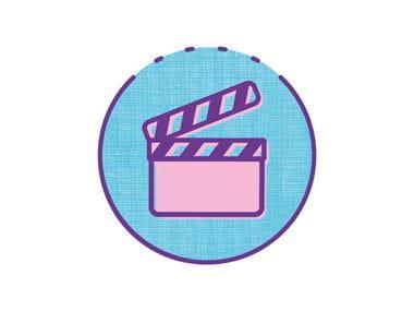 Icône de galerie vidéo sur cercle ble