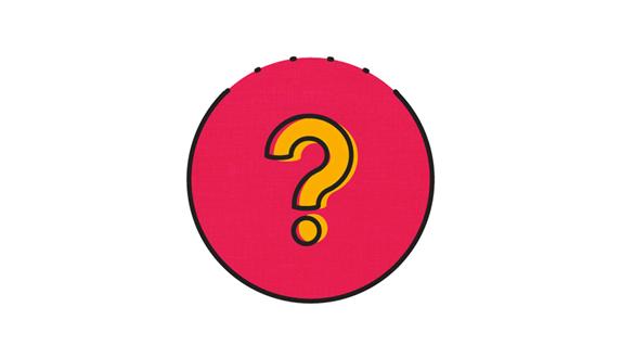 Roze cirkel met geel vraagteken