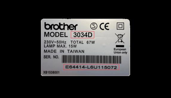 Adesivo argento con informazioni sul numero di serie