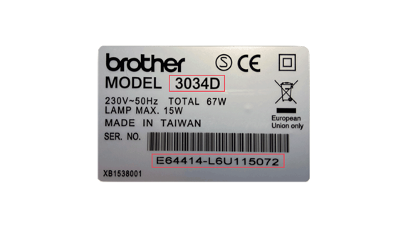 Silver sticker with model and serial number information