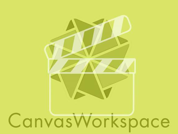 CanvasWorkspace-logo met limoengroene filter en videosymbool
