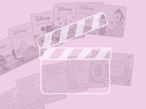 ScanNCut content cards with pink overlay