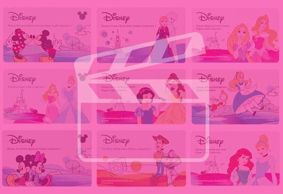 ScanNCut-snijpatronen collectie met roze filter en videosymbool