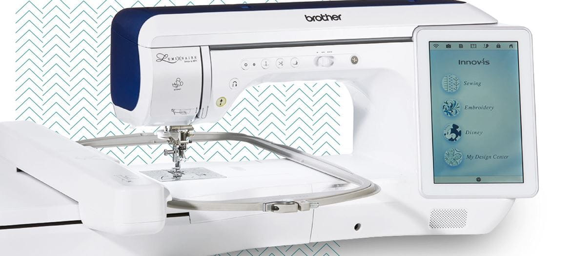 Brother Sewing Machine with zig zag pattern background