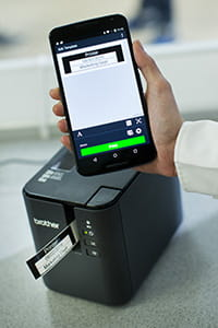 Brother PT-P900W label printer printing from app on smartphone