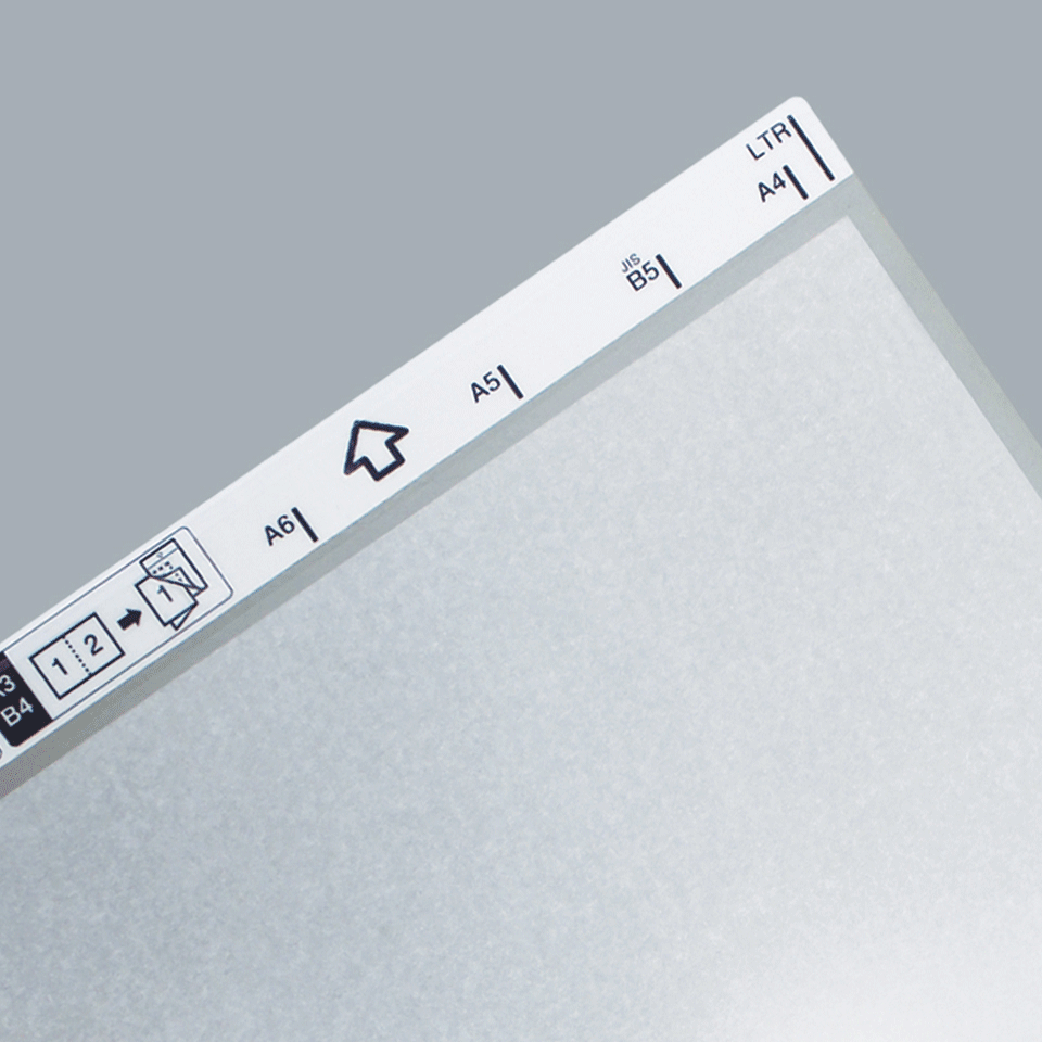 Brother CSA-3401 scanner document carrier sheet close up of left hand corner