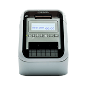 Front facing shot of the Brother QL-820NWBVM visitor and event badge label printer