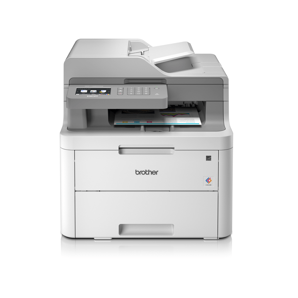DCPL3550CDW colour LED wireless printers front facing with paper
